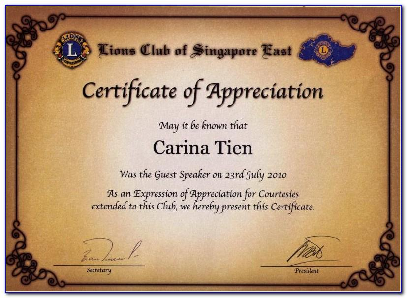 Certificate Of Appreciation For Resource Speaker Template
