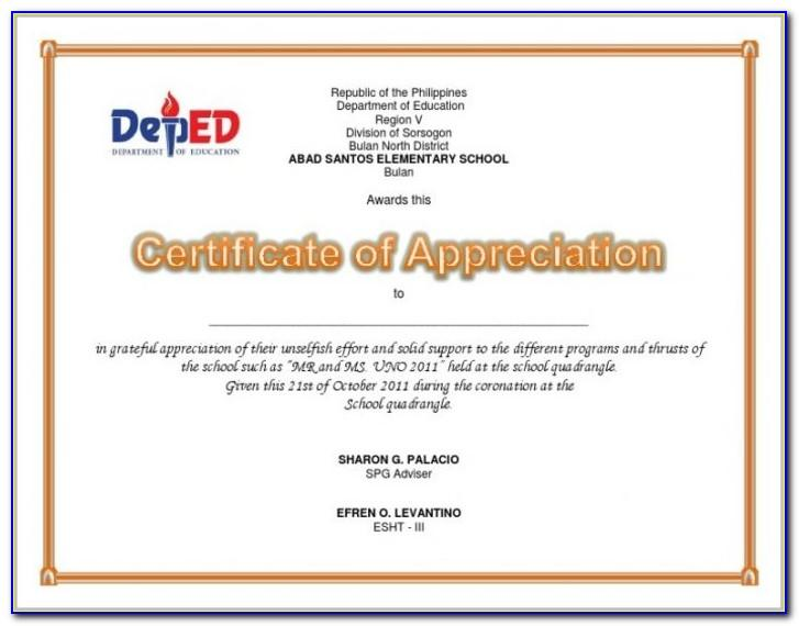 Certificate Of Appreciation For Speakers Template