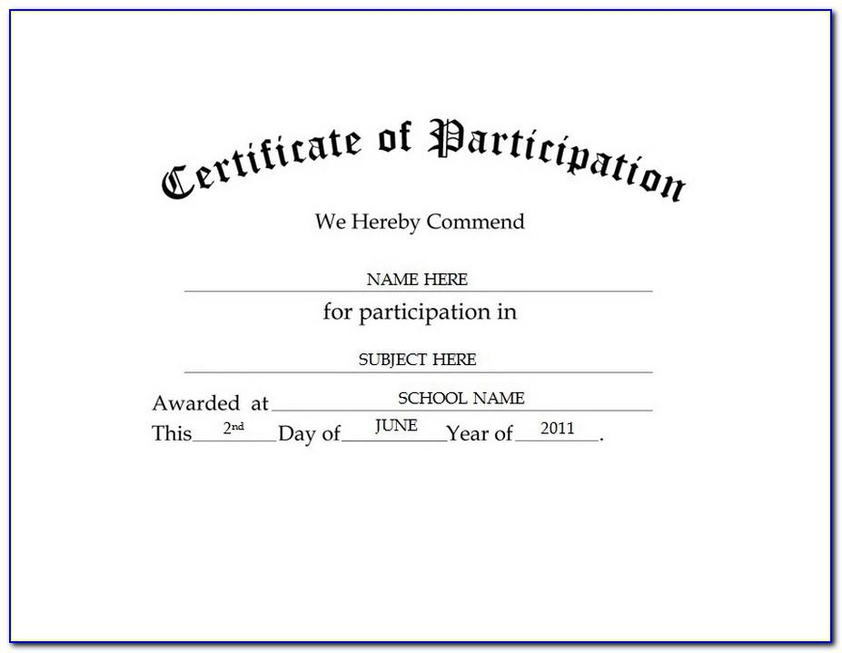 Certificate Of Participation Template Doc