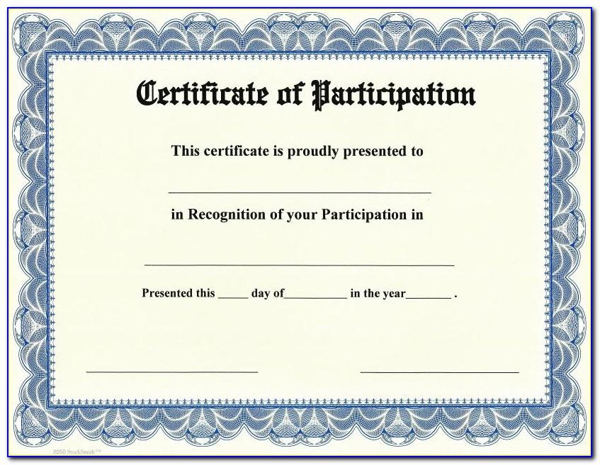 Certificate Of Participation Template Editable Free Download