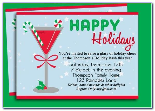 Christmas Cocktail Party Invitation Template Free