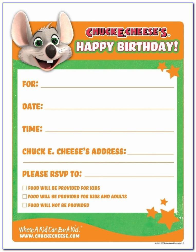 Chuck E Cheese Birthday Invitation Template