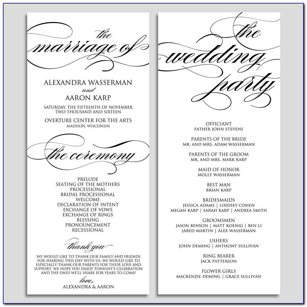 Church Ceremony Program Templates