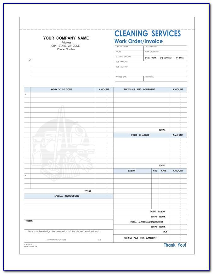 Cleaning Services Bill Template