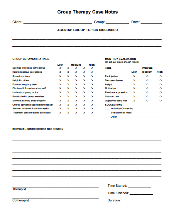 Clinical Progress Note Template