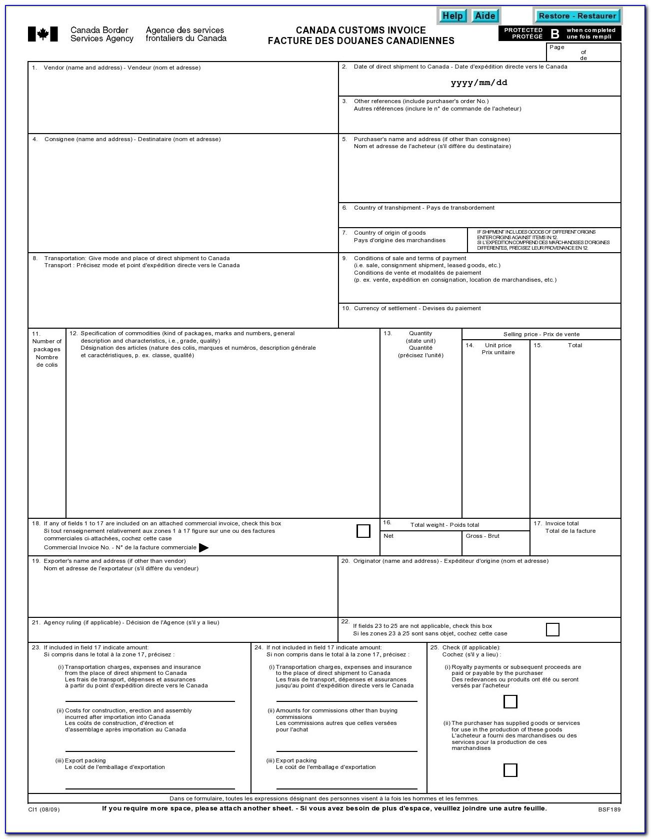 Commercial Invoice For Customs Clearance Template