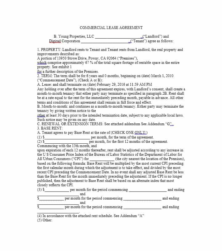 Commercial Property Lease Documents