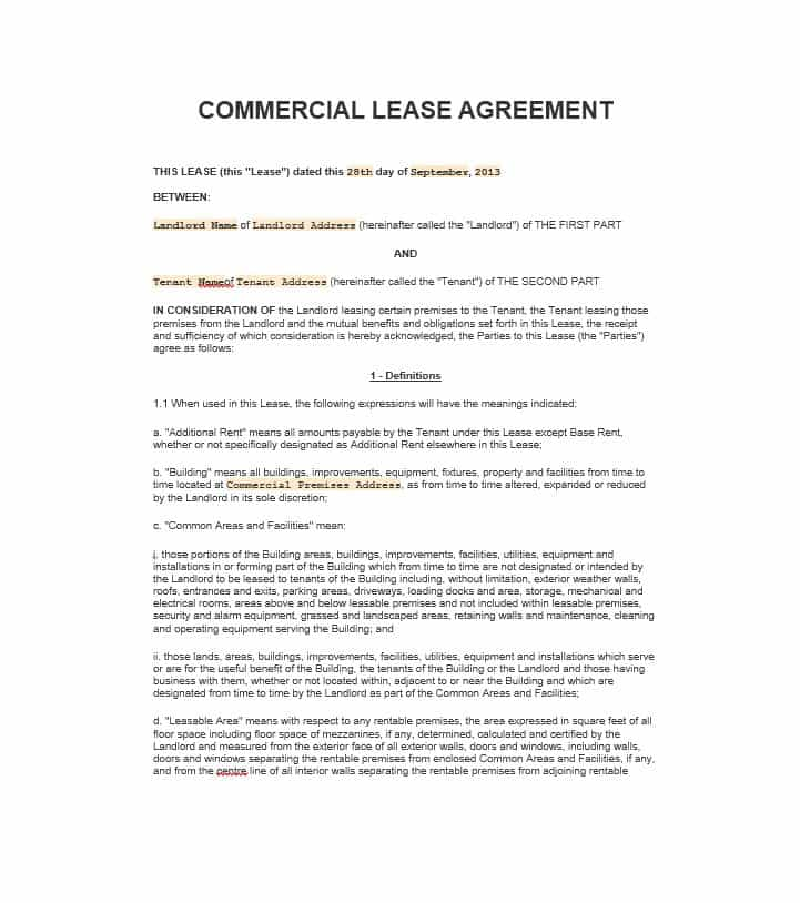 Commercial Property Lease Proposal Template