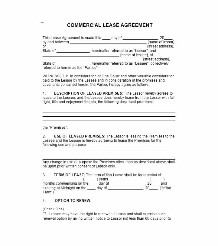 Commercial Property Lease Template Free