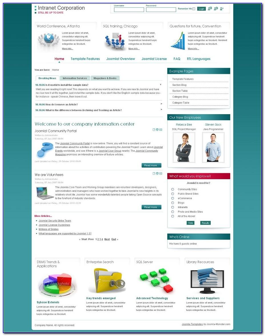 Company Intranet Website Templates
