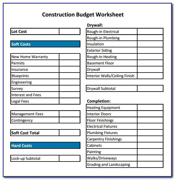 Construction Project Budget Template Excel