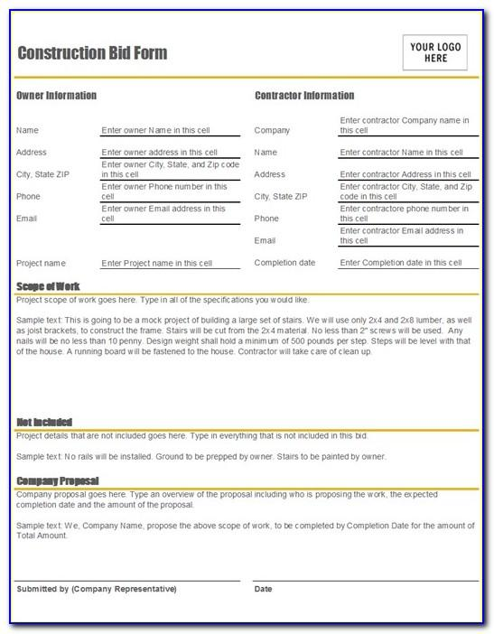 Construction Proposal Form Free Template
