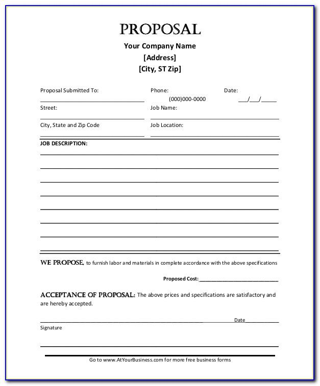 Construction Proposal Template Word Free