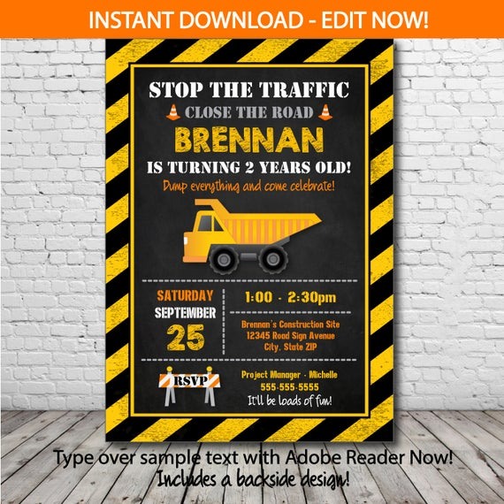 Construction Themed Invitation Template Free