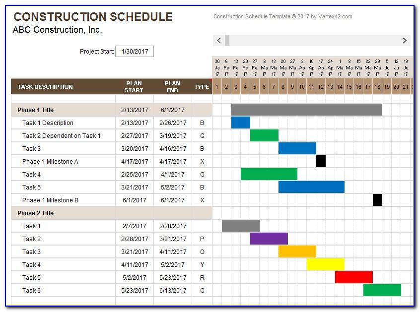 Construction Work Schedule Template Excel