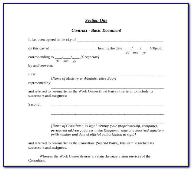 Consultant Contract Template Uk