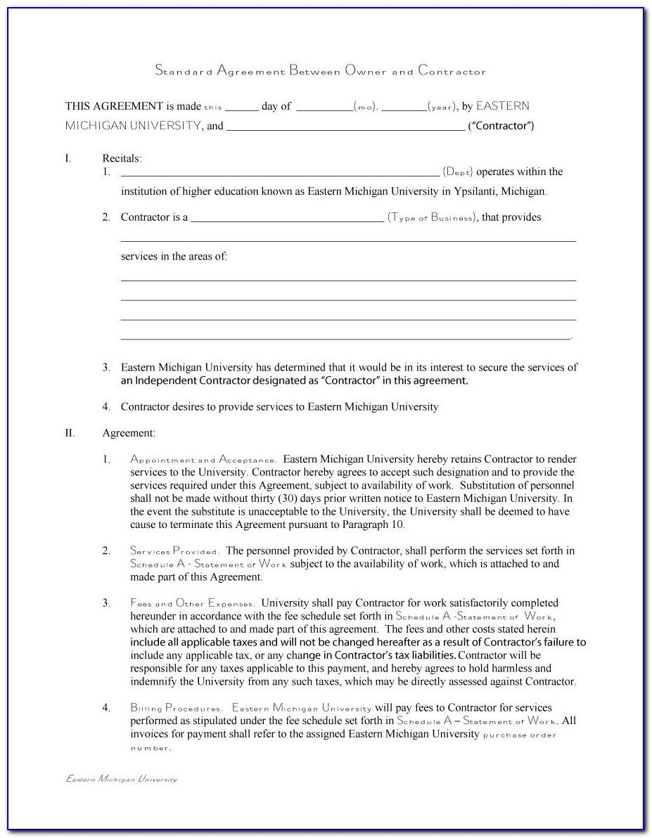 Contract Agreement For Contractors