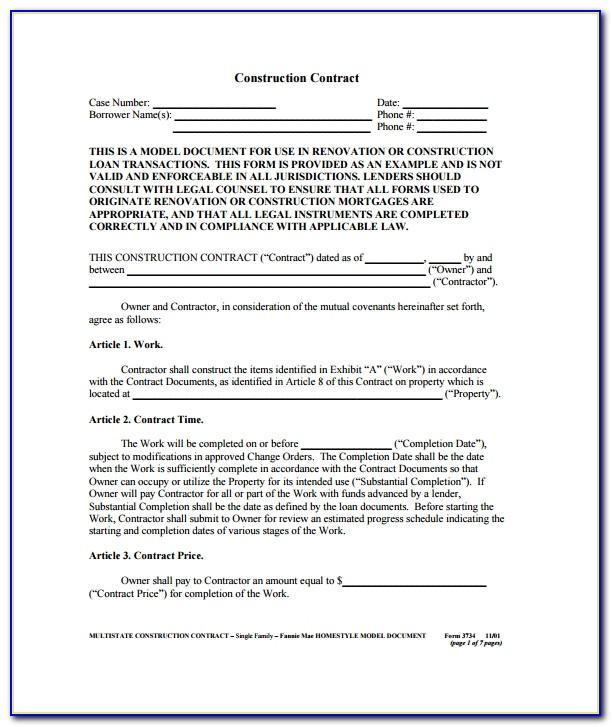 Contract Forms For Contractors