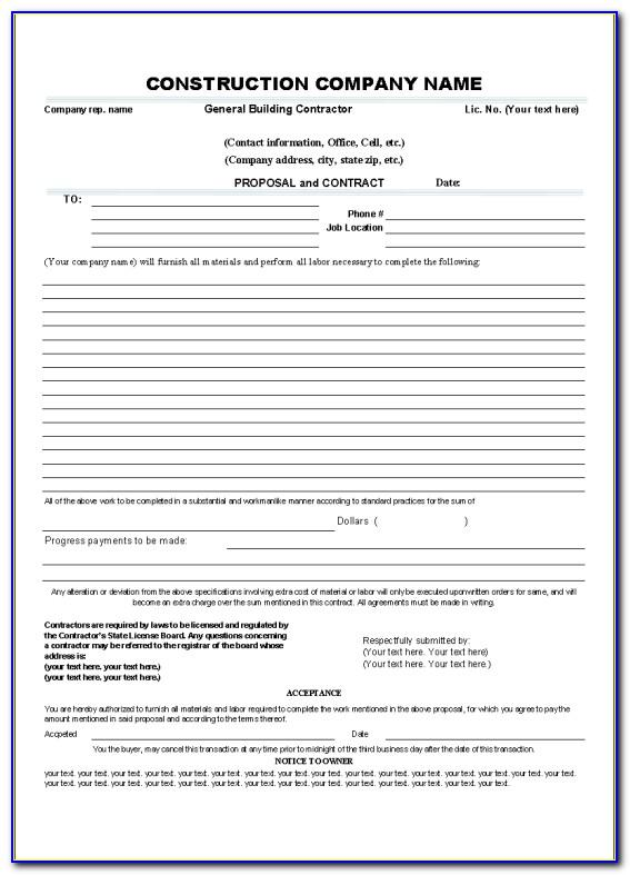 Contract Template For Contractors Free