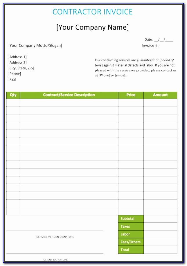 Contracting Invoice Template Free