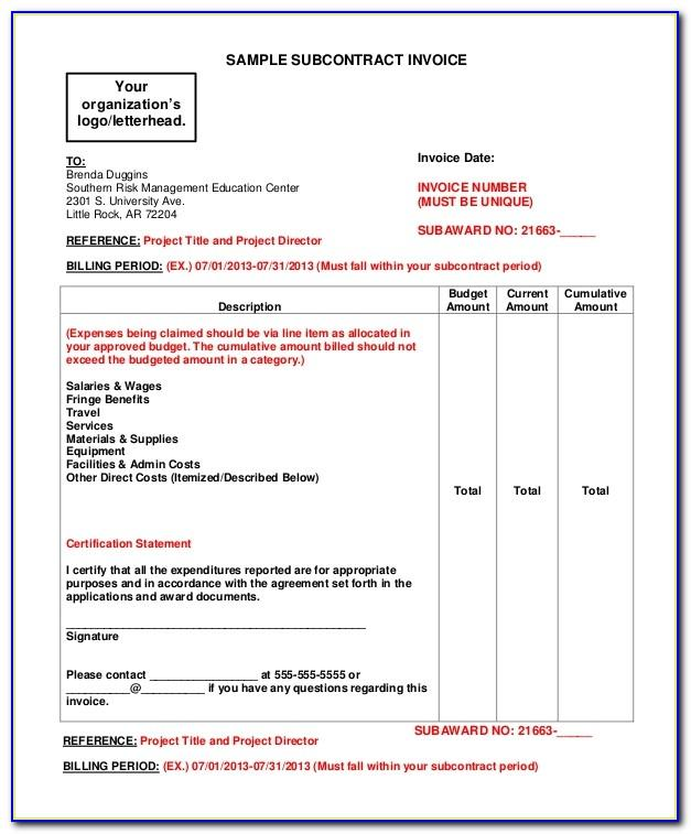 Contracting Invoice Template