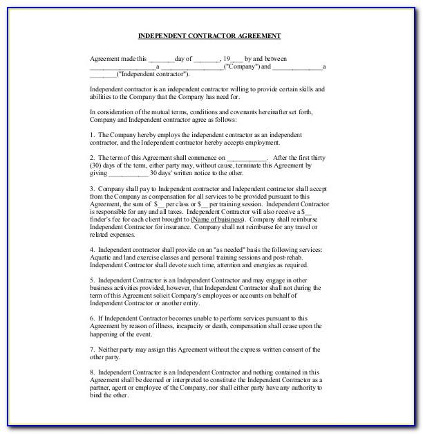 Contractor Contracts Forms