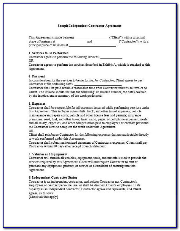 Contractor Contracts Templates Free