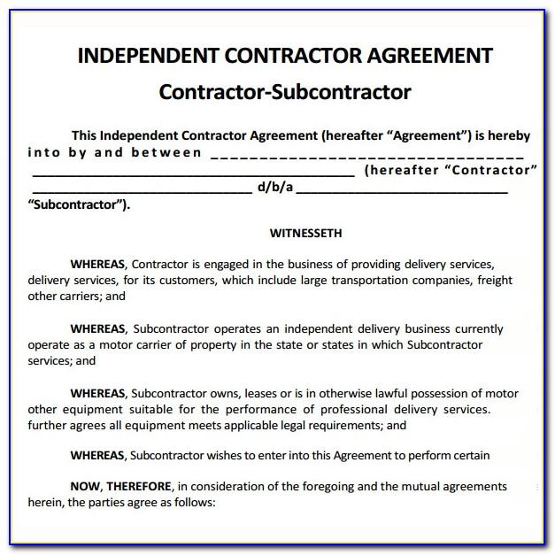 Contractor Subcontractor Agreement Sample