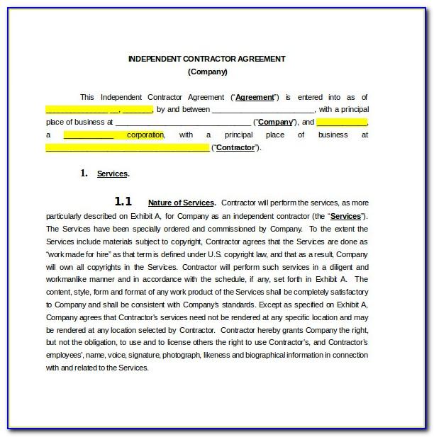 Contractors Agreement Sample