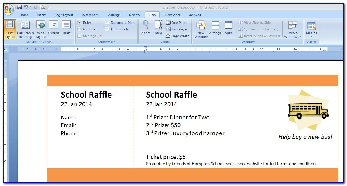 Create Free Raffle Ticket Template