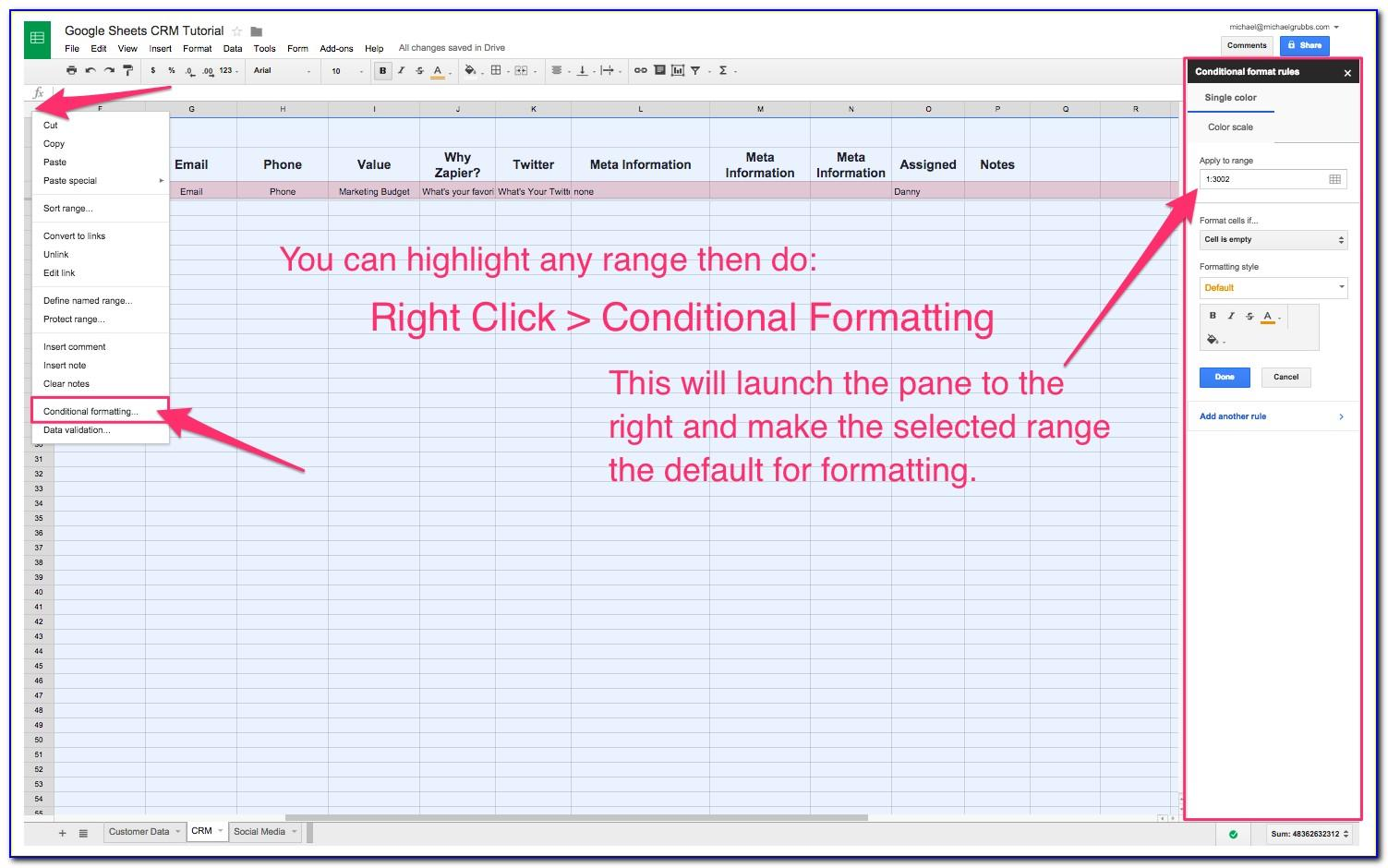 Crm Excel Spreadsheet Template Free