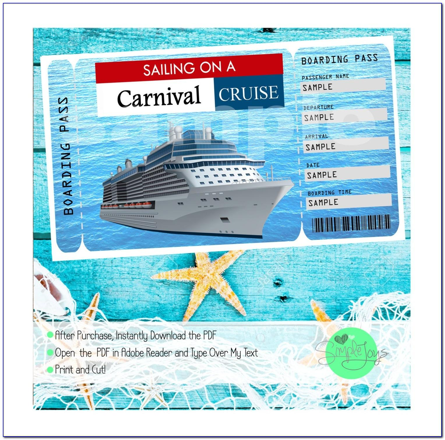 Cruise Ship Ticket Template Free