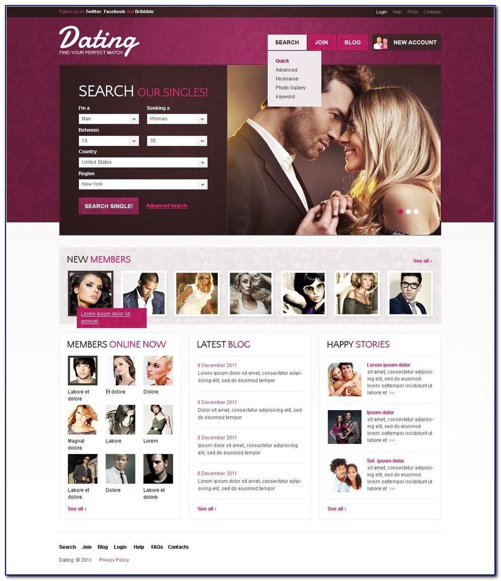 Free dating website css web template