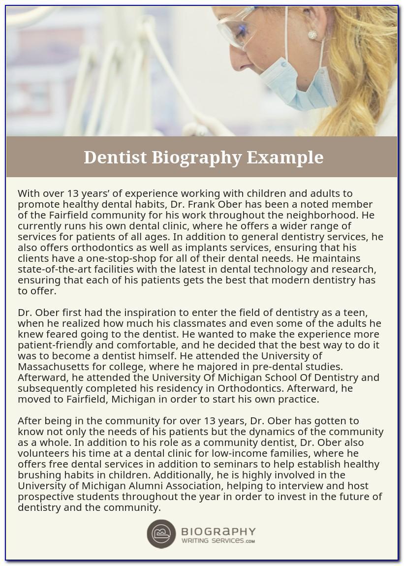 Dentist Biography Sample