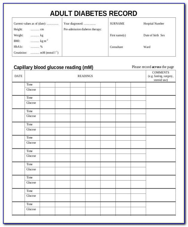 Diabetes Monitoring Chart Template