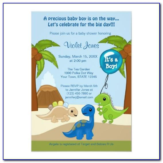 Dinosaur Baby Shower Invitation Template Free