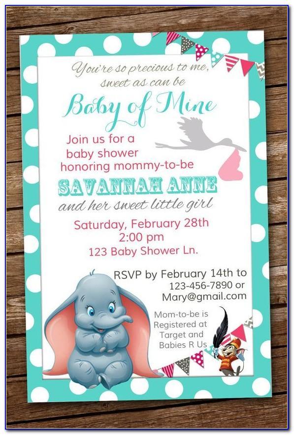 Dumbo Birthday Invitations Template