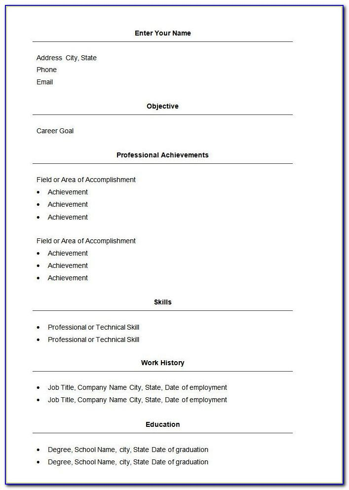 Easy Cv Template Word Free Download