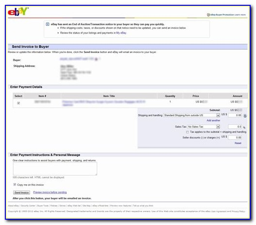 Ebay Send Invoice For Postage