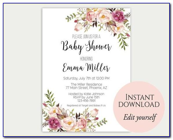 Editable Baby Shower Invitations Templates Free