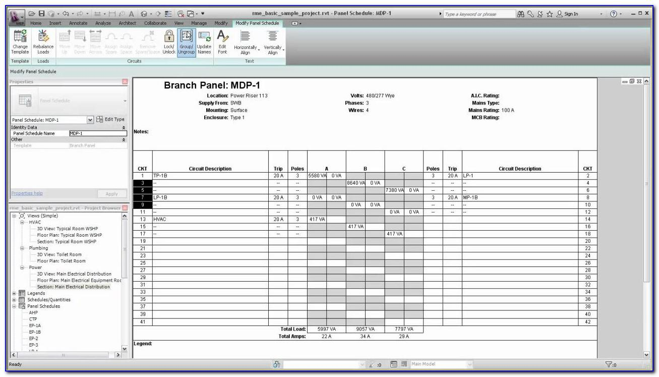 Electrical Panel Directory Template Excel