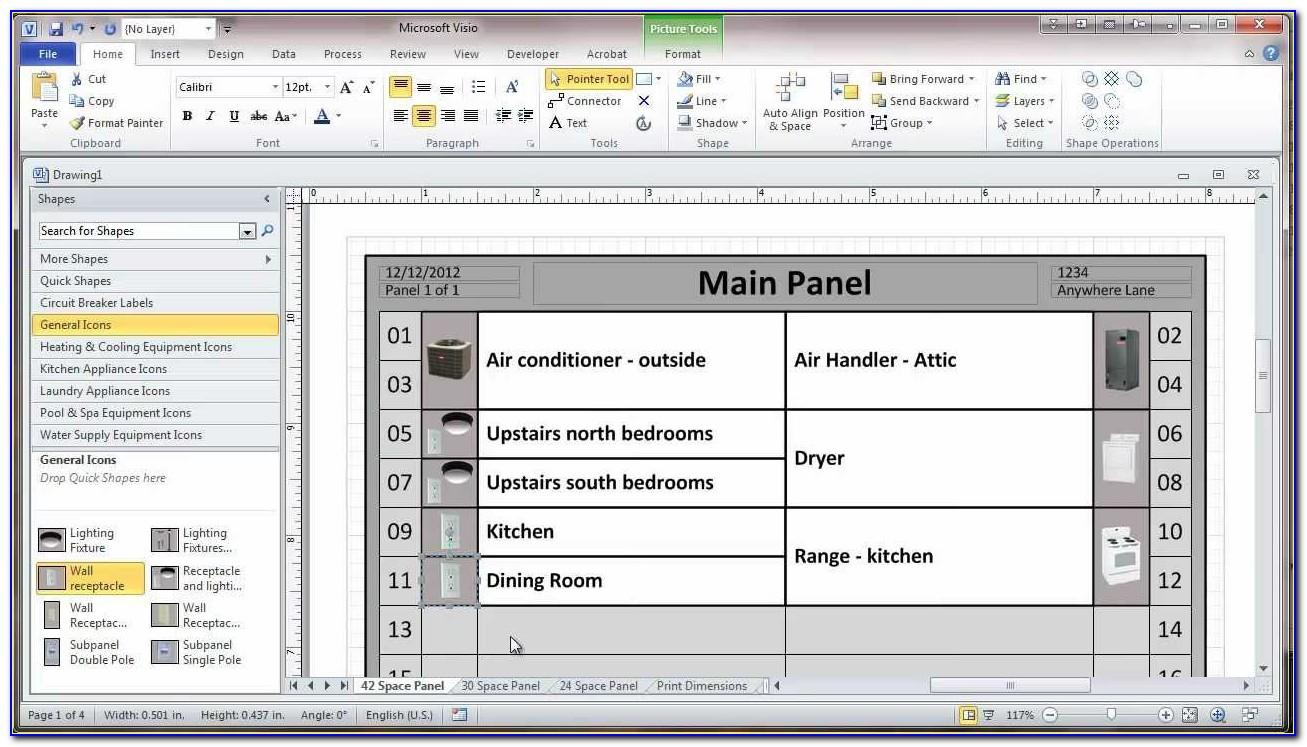 Electrical Panel Directory Template Visio
