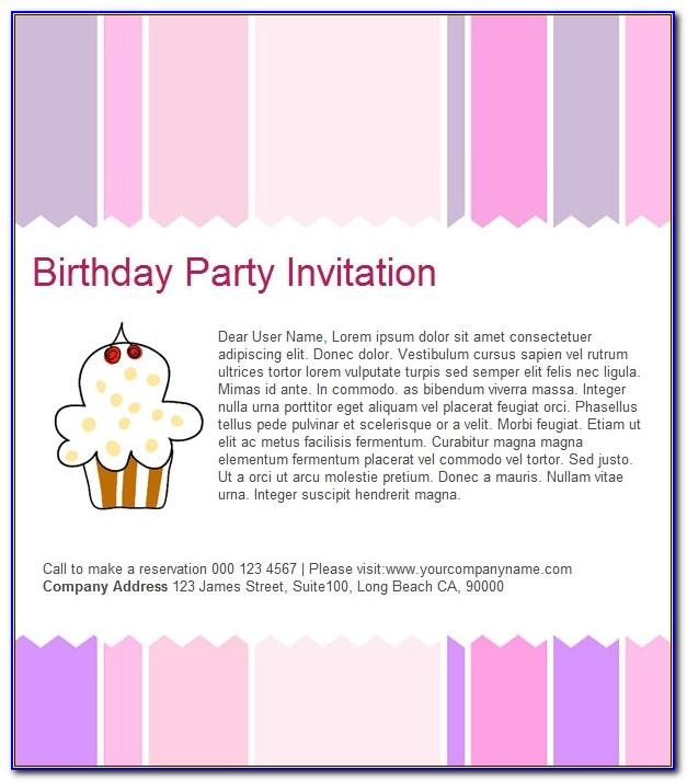 Email Template For Birthday Invitation