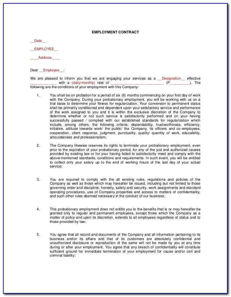 Employee Agreement Template Word