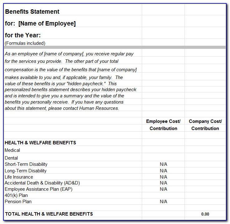 Employee Benefit Statement Template