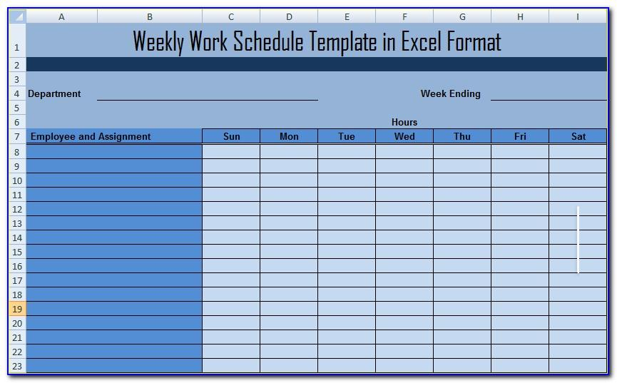 Employee Bi Weekly Schedule Template