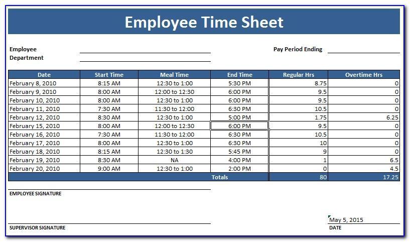 Employees Timesheet Template