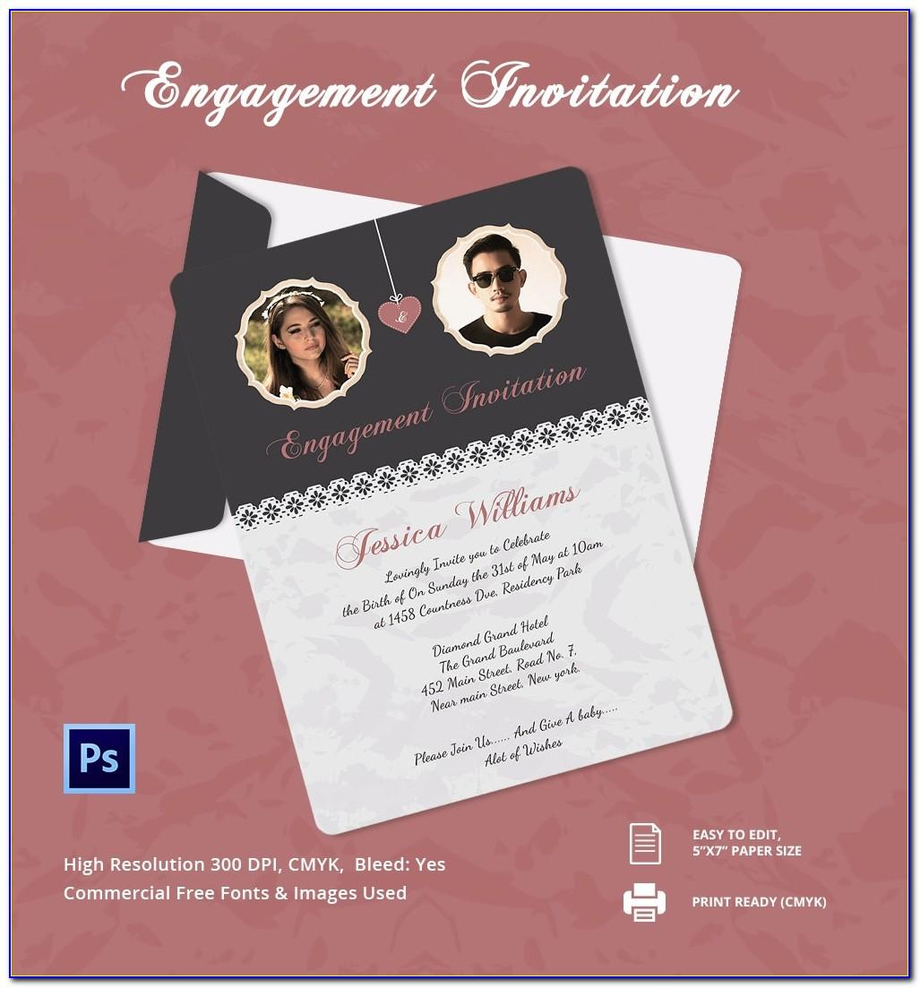 Engagement Invitation Card Template Psd