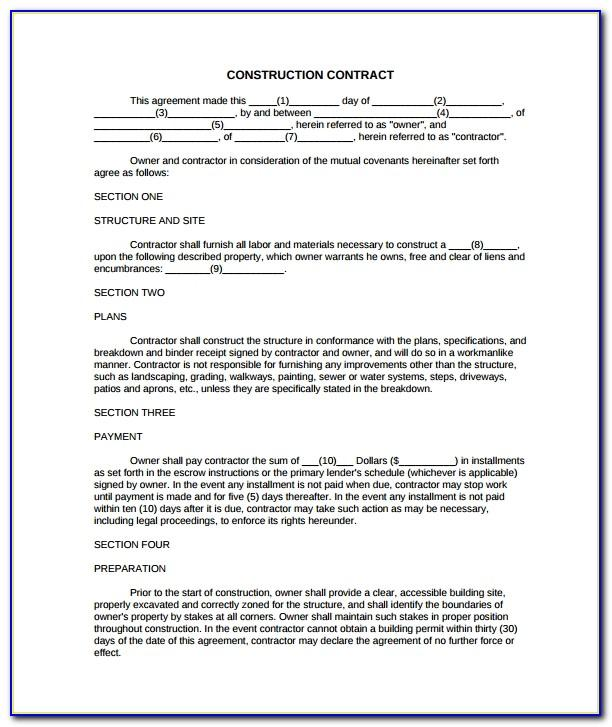 Example Contracts For Contractors
