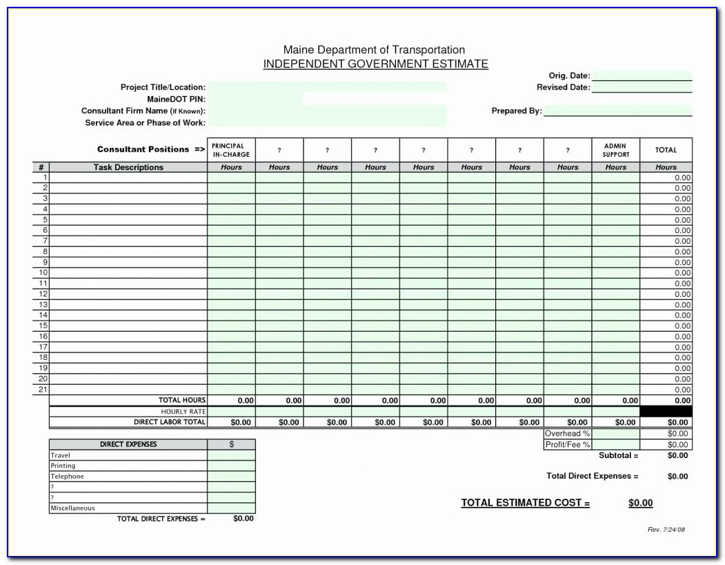 Excel Construction Cost Estimate Template